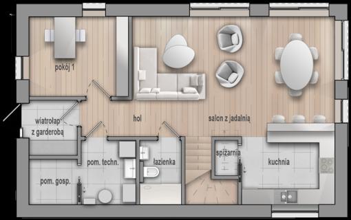 HG_06 dom niskoenergetyczny pasywny parter