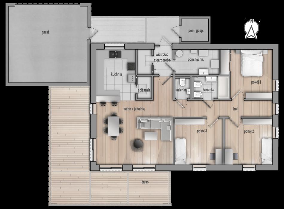 Projekt domu HG 04_II dom pasywny dom niskoenergetyczny parterowy